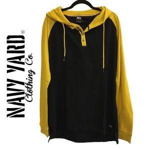Navy Yard Comfy Long Sleeve Hoodie Black & Yellow Bunny Hug Size XL Men's